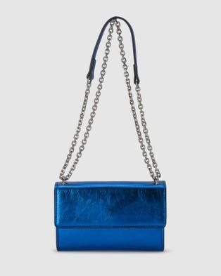 Olga Berg Lola Crinkle Metallic Foil Shoulder Bag - Handbags (Cobalt)