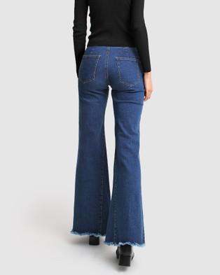 Belle & Bloom Flare Up Fly Front Jeans - Flares (Blue)