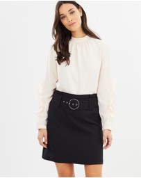 Dorothy Perkins - Belted Mini A-Line Skirt