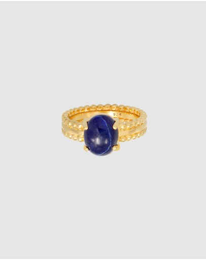 Elli Jewelry - Ring with Lapis Lazuli Gemstone in 925 Sterling Silver Gold Plated