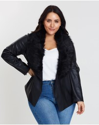 DP Curve - Faux Fur Collar Waterfall Jacket