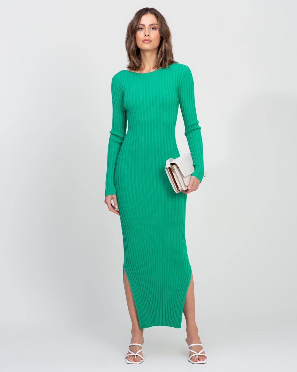 AERE Organic Cotton Blend Knit Dress Bodycon Dresses Jade Green