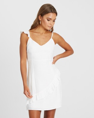 Calli – Katey Frill Mini Dress – Bridesmaid Dresses White