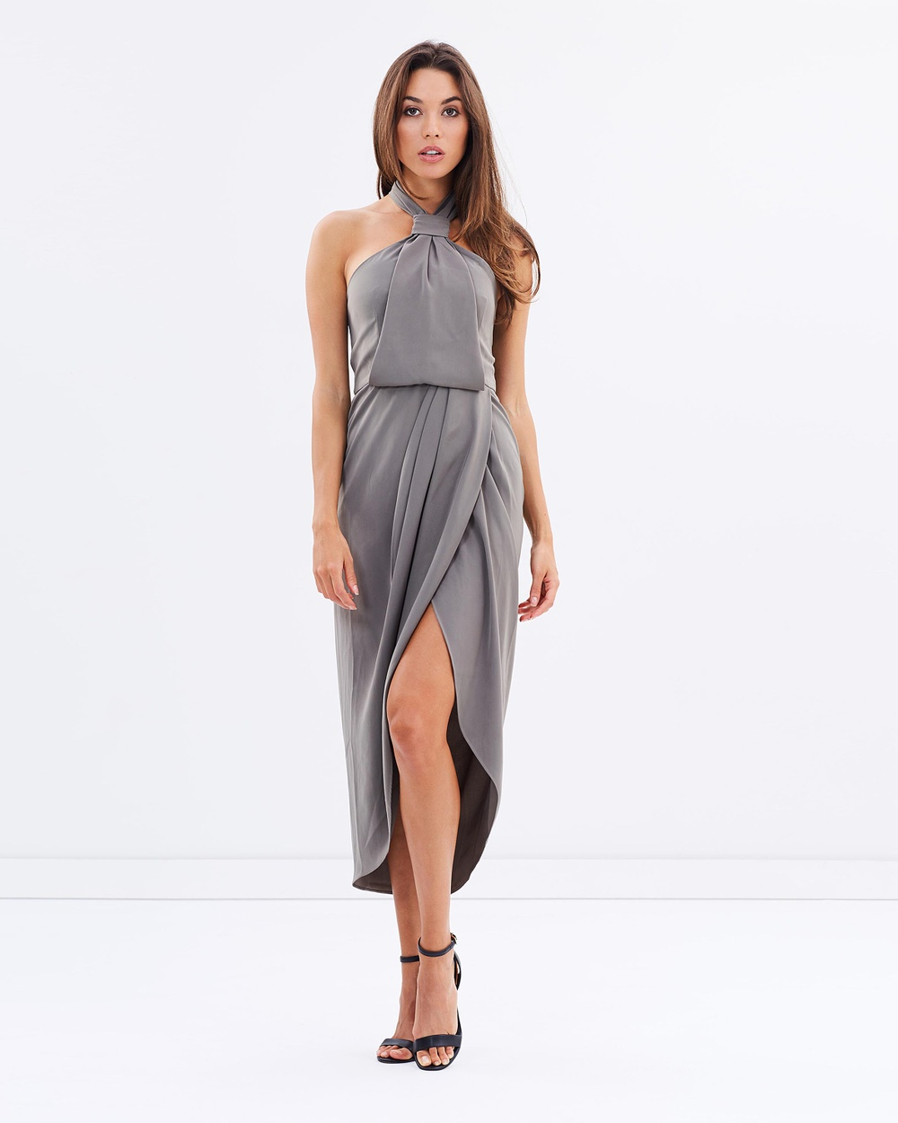 Shona Joy Core Knot Draped Dress Dresses Olive Core Knot Draped Dress