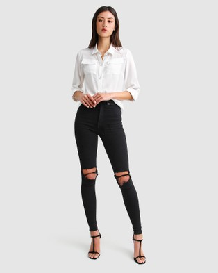 Belle & Bloom Eclipse Rolled Sleeve Blouse - Tops (White)