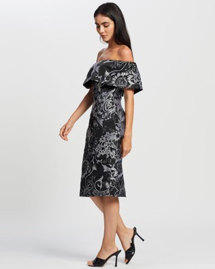 Romance by Honey and Beau Shine Off The Shoulder Dress - Dresses (Black & Silver)