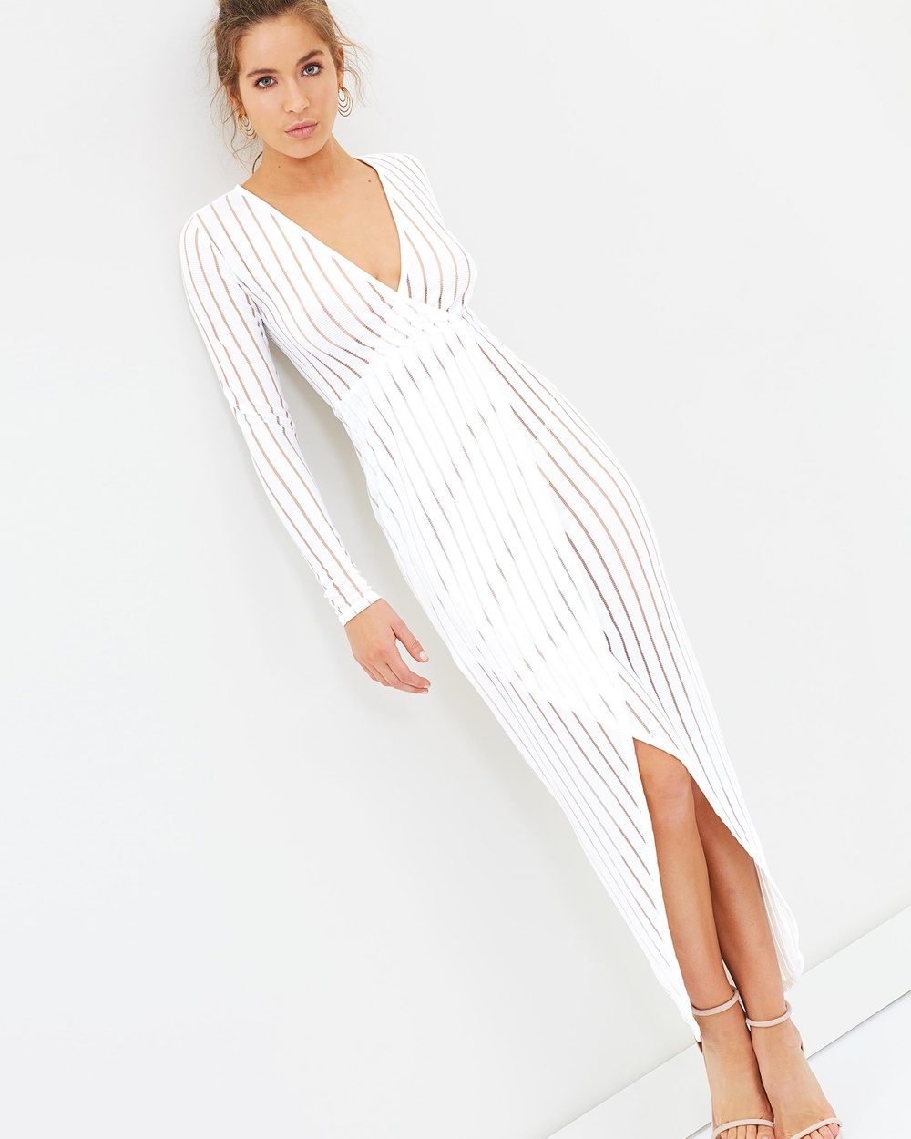 Missguided LS Wrap Sheer Stripe Maxi Dress Dresses White LS Wrap Sheer Stripe Maxi Dress