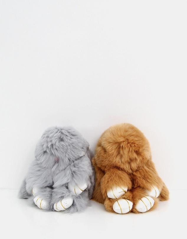 Women Faux Fur Bunny Key Ring 2 Pack