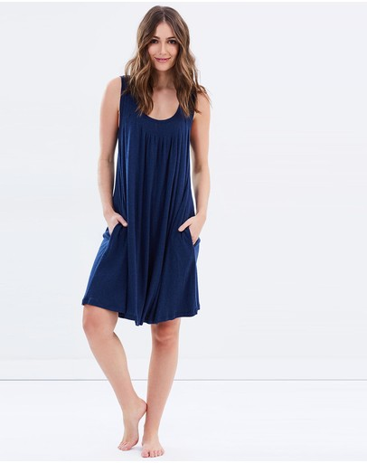 Papinelle Modal Summer Pleat Front Nightie Navy Marle