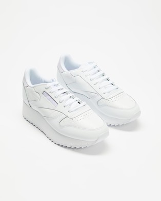 Reebok Classic Leather Double   Women's - Sneakers (White, Luminous Lilac & White)