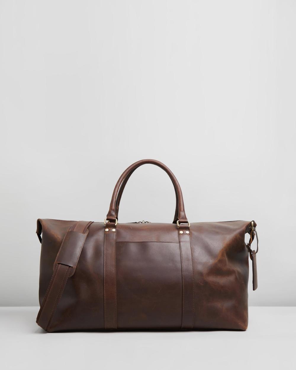 Double Oak Mills Lyle Leather Weekender Duffle Bags Brown