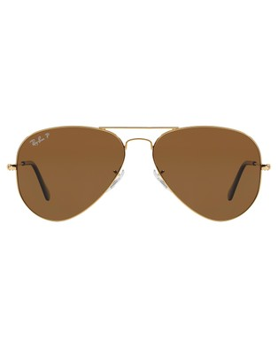 RaBan - Aviator Classic Polarised RB3025 - Sunglasses (Solid Colour Brown)