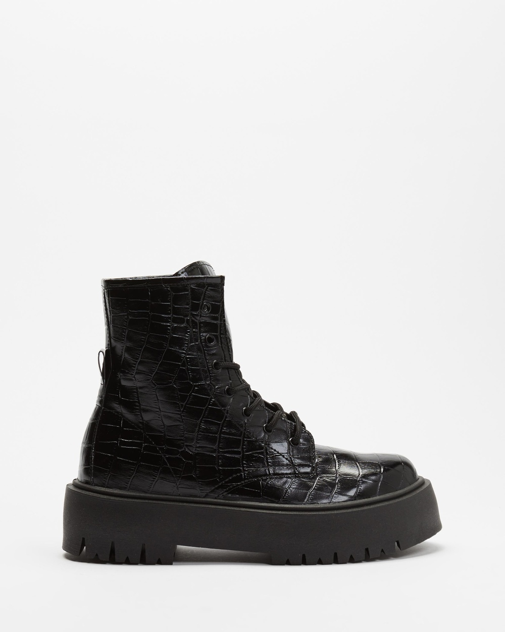 TOPSHOP Billy Croc Lace Up Boots Black