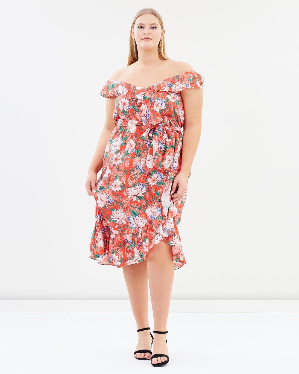 DP Curve Ruffle Wrap Midi Dress Printed Dresses Orange Ruffle Wrap Midi Dress