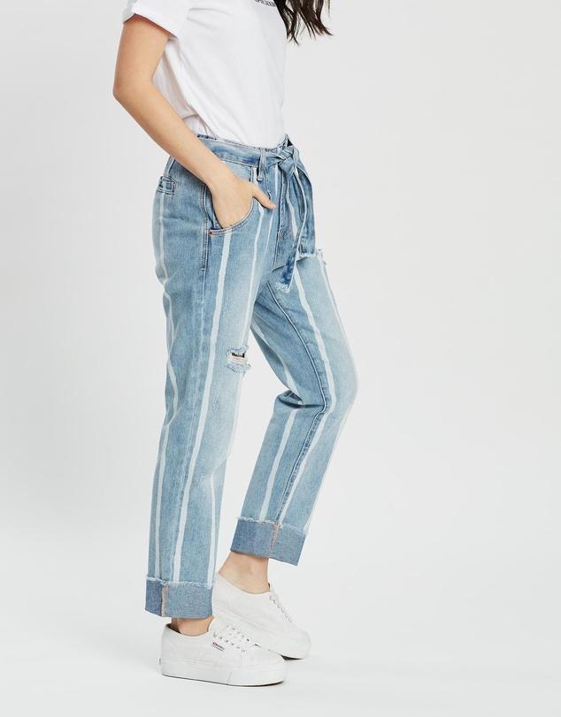 Women Tailored Stripe Jeans