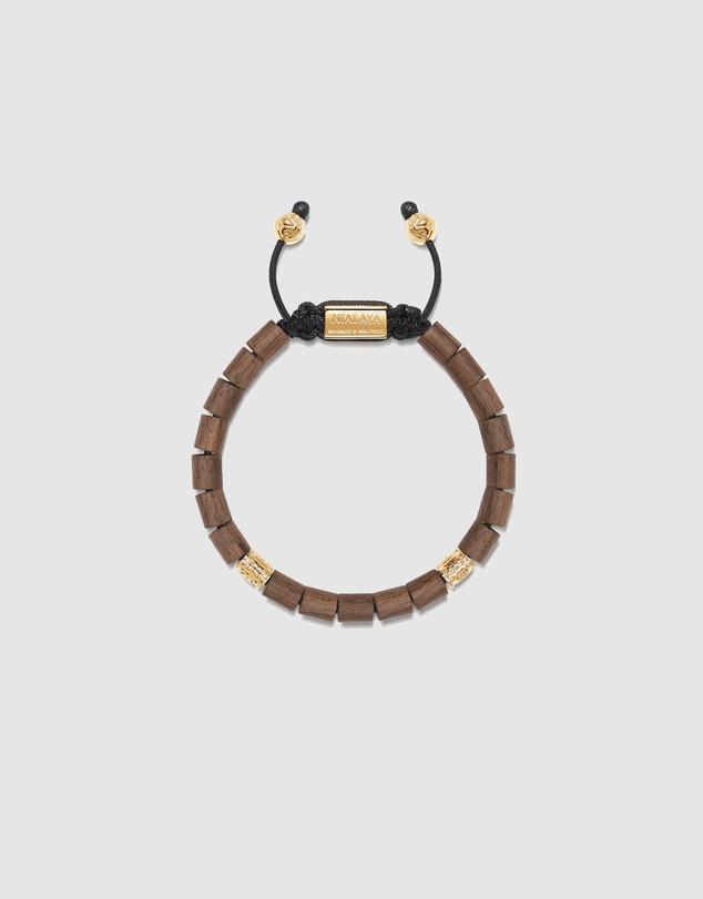 Men Men's Beaded Bracelet with Light Driftwood and Hand Carved Tube Beads