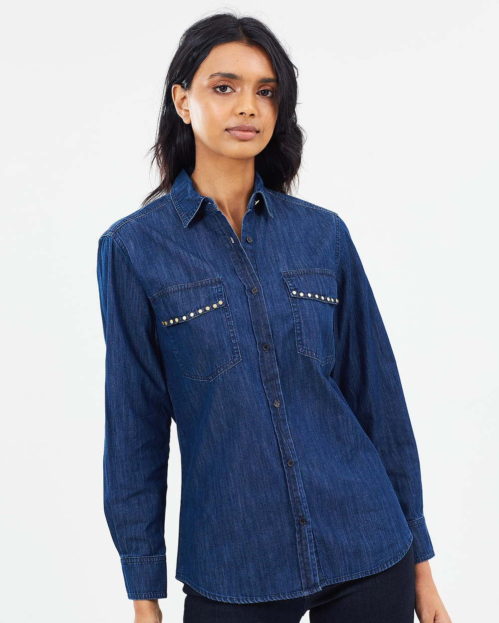 Elvie & Leo The Denim Shirt With Studs Tops Chambray The Denim Shirt With Studs