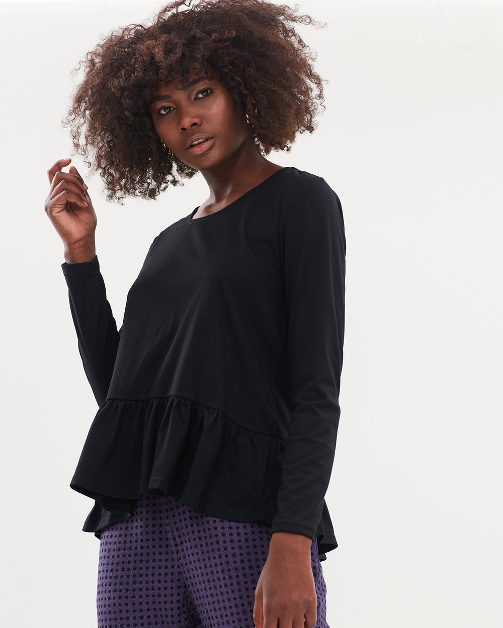 Atmos & Here ICONIC EXCLUSIVE Blaire Ruffle Hem Top Tops Black ICONIC EXCLUSIVE Blaire Ruffle Hem Top