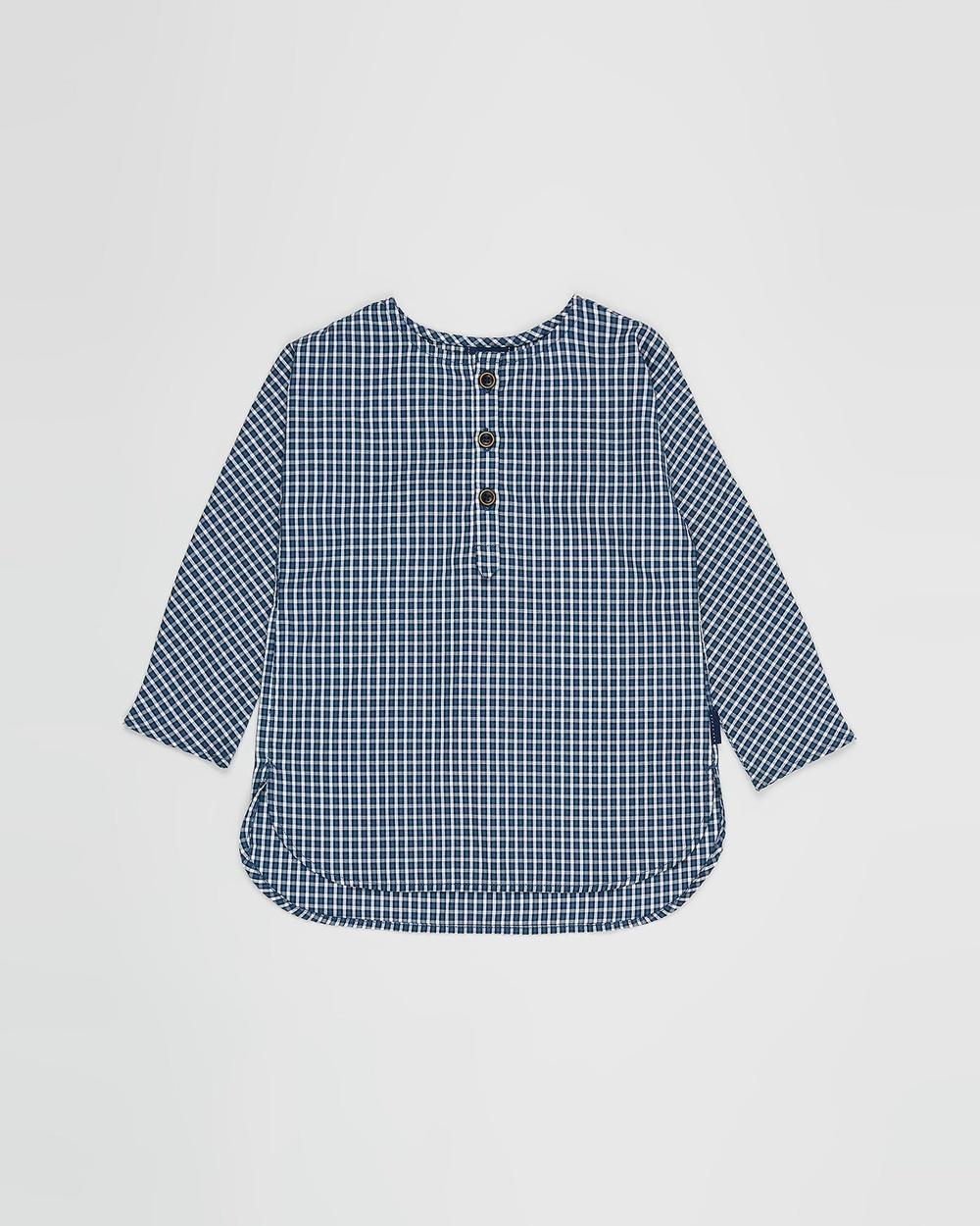 Pappe Prairie Plaid Shirt Babies Kids Shirts & Polos Navy White Check Babies-Kids Australia