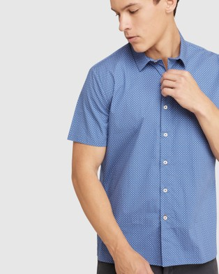 Oxford Leyton Printed Relax Fit S s Shirt - Casual shirts (Blue)