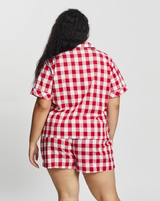 Atmos&Here Curvy Short Cotton PJ Set Two-piece sets Red Gingham
