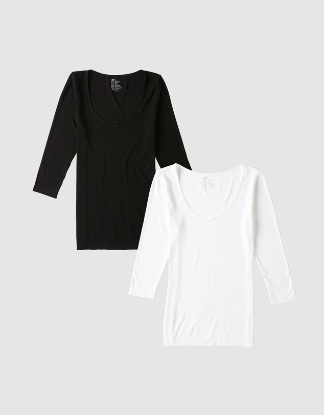 Boody Organic Bamboo Eco Wear - 2-Pack 3/4 Sleeve Scoop Neck Top