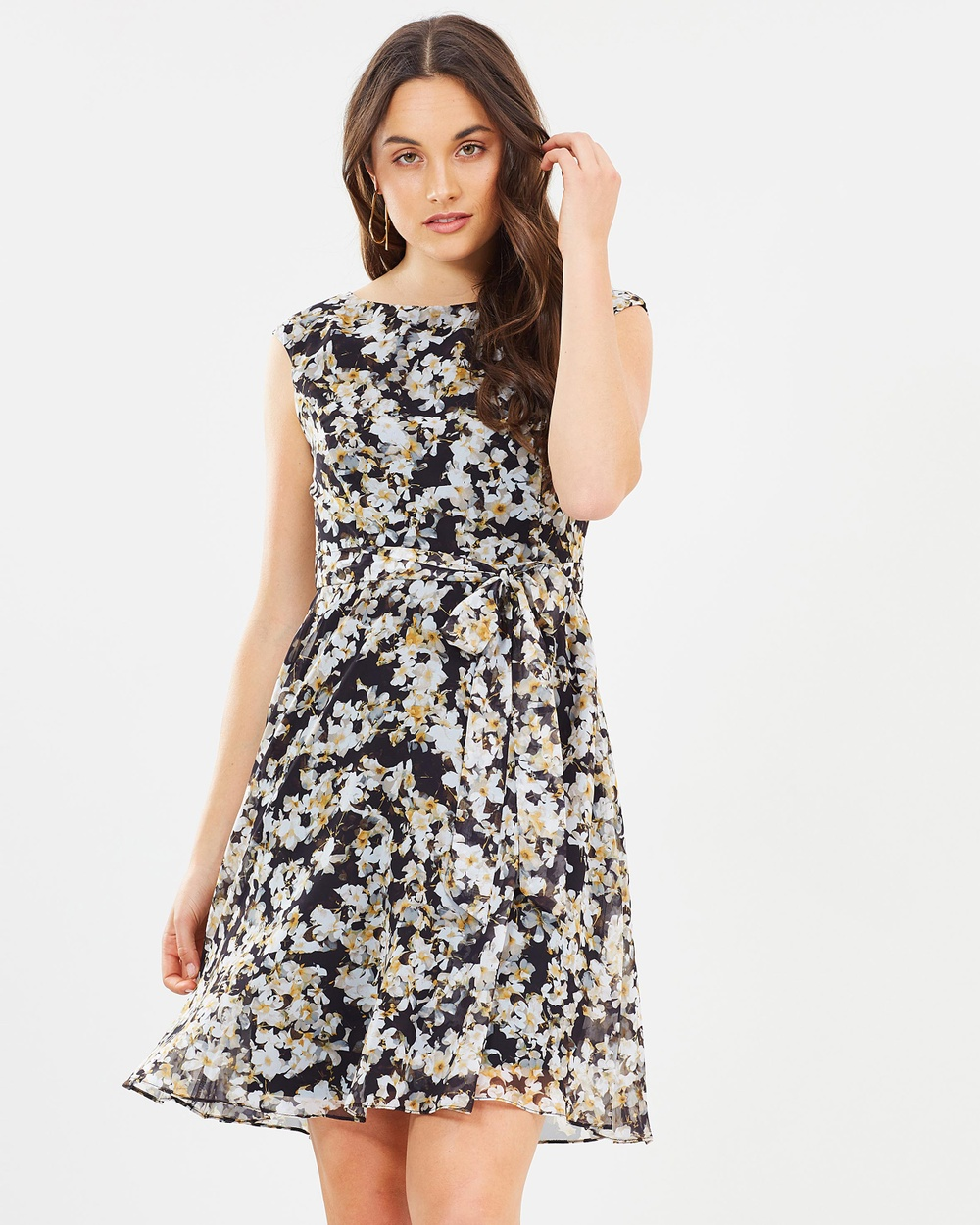Wallis Ditzy Fit Flare Dress Printed Dresses Black Ditzy Fit Flare Dress