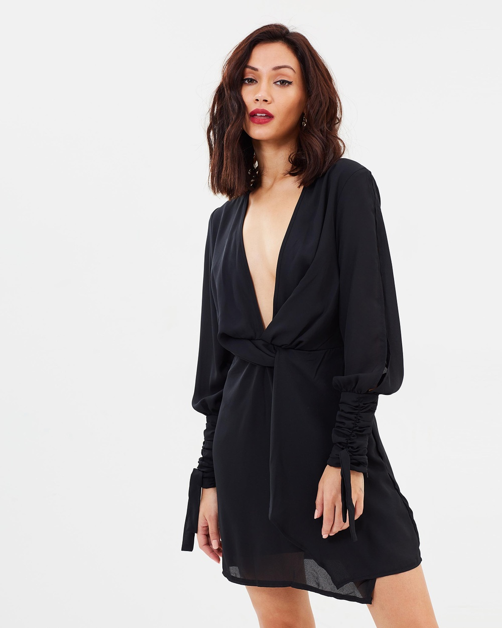 Missguided Split Sleeve Knot Front Wrap Dress Dresses Black Split Sleeve Knot Front Wrap Dress