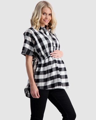 Maive & Bo Audrey Maternity Shirt Top - Tops (Black/White)