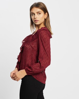 Atmos&Here - Willow Ruffle Blouse Tops (Burgundy)