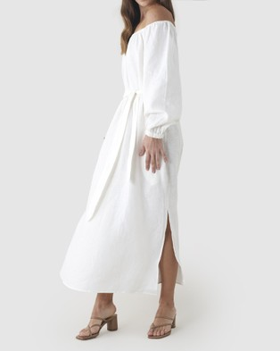 Amelius Tala Linen Maxi Dress - Dresses (White)