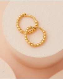 Luv Aj - ICONIC EXCLUSIVE - The Mini Continuous Beaded Gold Hoop Earrings