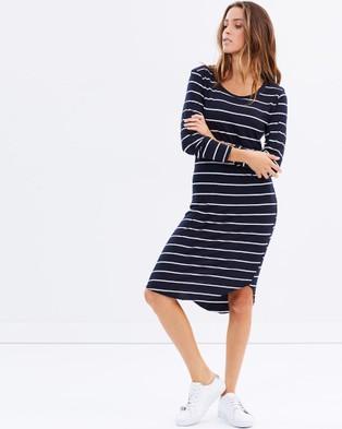 Tee Ink – Long Sleeve Tee Dress – Dresses (Stripe)
