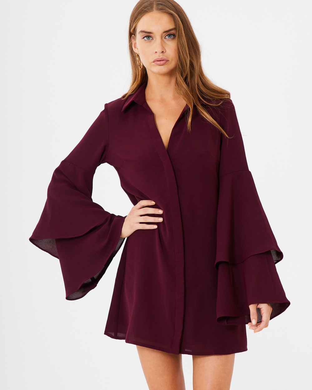 Photo of Tussah Plum  Paola Shirt Dress - buy Tussah dresses on sale online