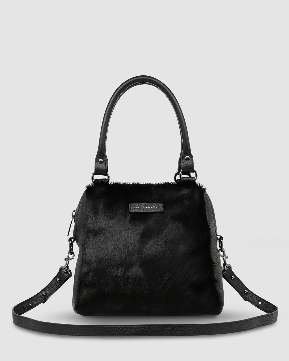 Status Anxiety Last Mountains Handbag Satchels Black Fur Leather bags Australia