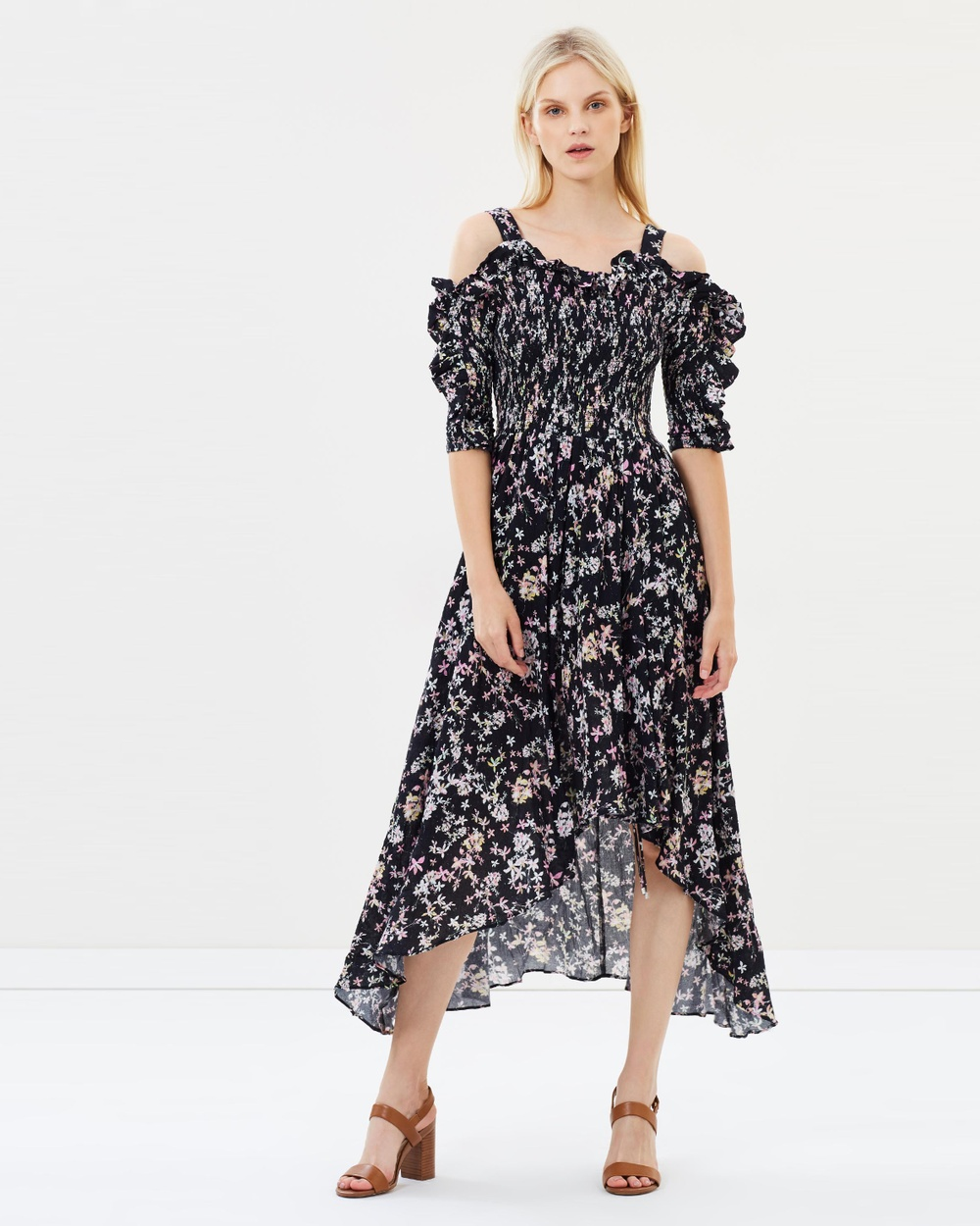 Steele Le Bloom Shirred Dress Printed Dresses Noir Le Bloom Le Bloom Shirred Dress