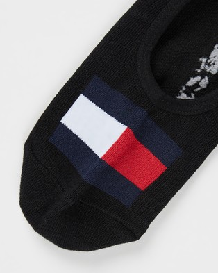 Tommy Hilfiger 3 Pack Flag Sneaker Socks   Women's - No Show Socks (Black)