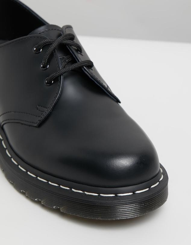Women Unisex 1461 White Stitch 3-Eye Shoes