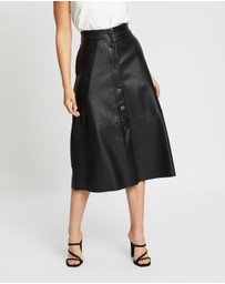 Atmos&Here - PU Button Through Midi Skirt