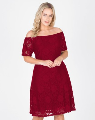 Love Your Wardrobe – Elsa Stretch Lace Off The Shoulder Dress Red
