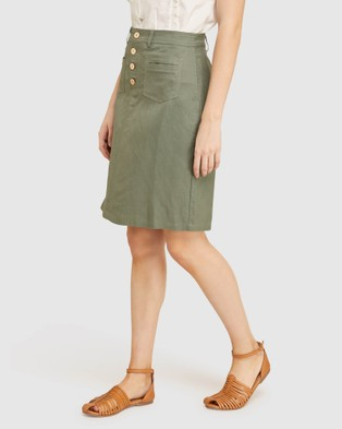 Oxford Tito Button Front Skirt - Denim skirts (Green)