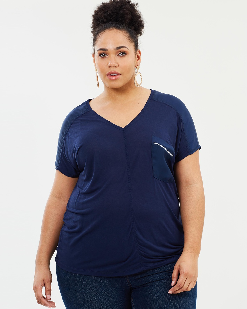 EVANS Satin Pocket Tee Tops Navy Blue Satin Pocket Tee