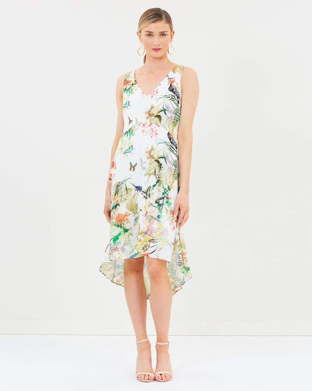 Wallis Rainforest Palm Midi Dress Printed Dresses Multi Rainforest Palm Midi Dress