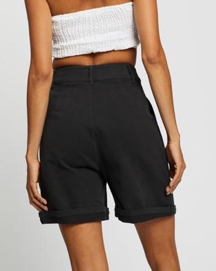 AERE Longline Organic Cotton Shorts High-Waisted Charcoal