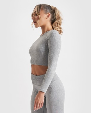 Core Trainer Paris Long Sleeve Crop - Crop Tops (Grey)