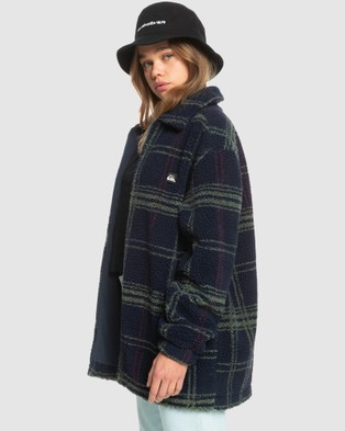 Quiksilver Womens Venture Beyond Zip Up Polar Fleece Jacket - Coats & Jackets (NAVY BLAZER PLAID PO)