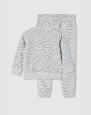 Milky Zebra Track Pants & Sweat Set   Babies - Sweats (Almond Marle)