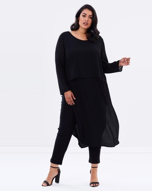 Advocado Plus – Long Sleeve Layering Dress – Dresses (Black)