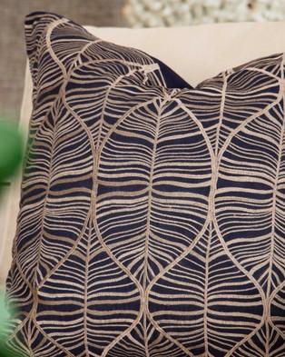 Bandhini Design Rake Leaf Black Lounge Cushion - Home (Black)