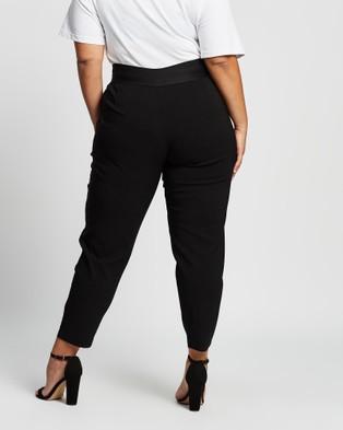 Love Your Wardrobe Jada Wide Elastic Waist Stretch Bengaline Pants - Pants (Black)